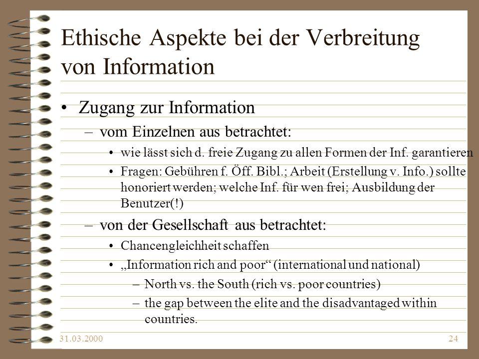 Ethische Aspekte bei der Verbreitung von Information