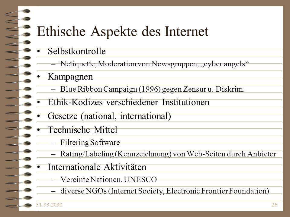 Ethische Aspekte des Internet