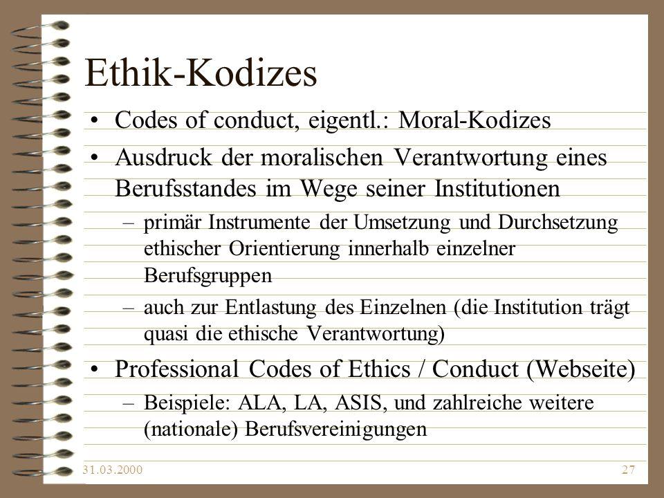 Ethik-Kodizes Codes of conduct, eigentl.: Moral-Kodizes