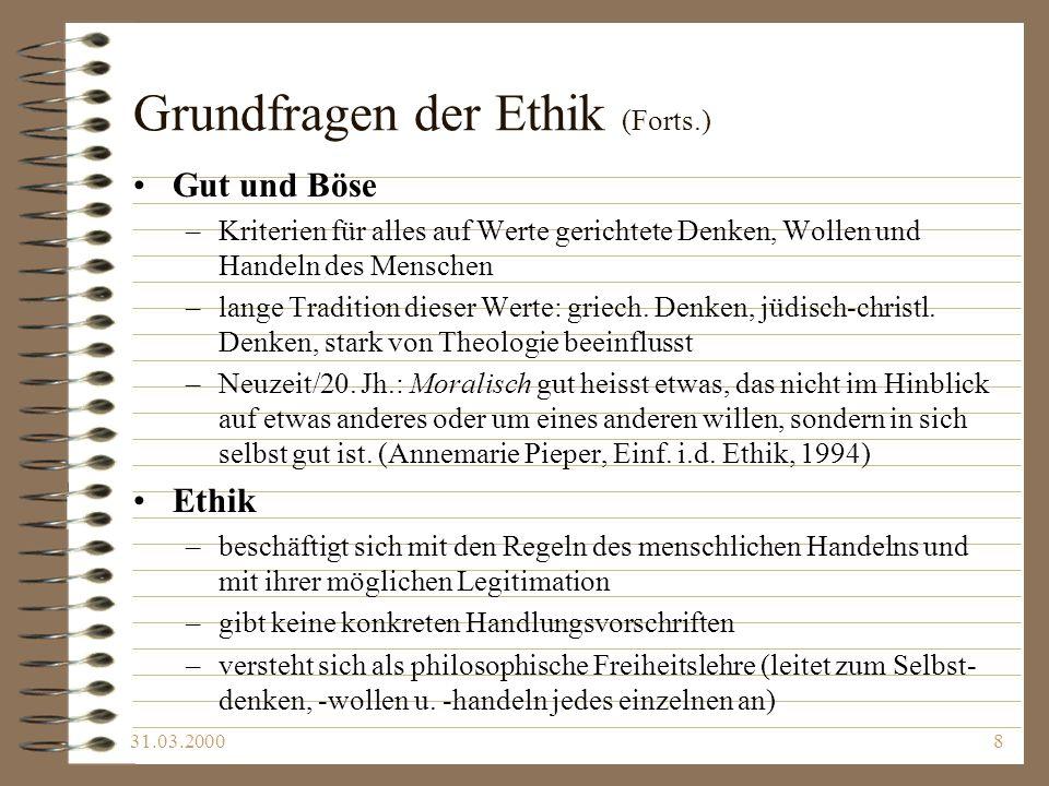 Grundfragen der Ethik (Forts.)