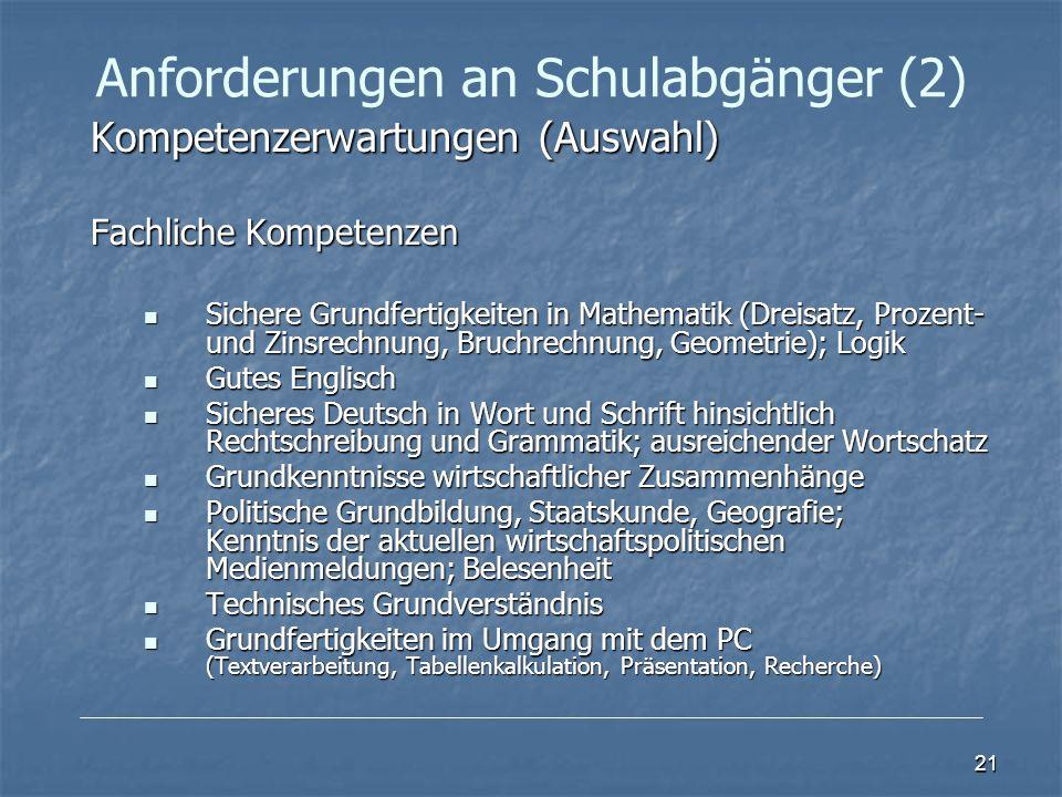 Anforderungen an Schulabgänger (2)