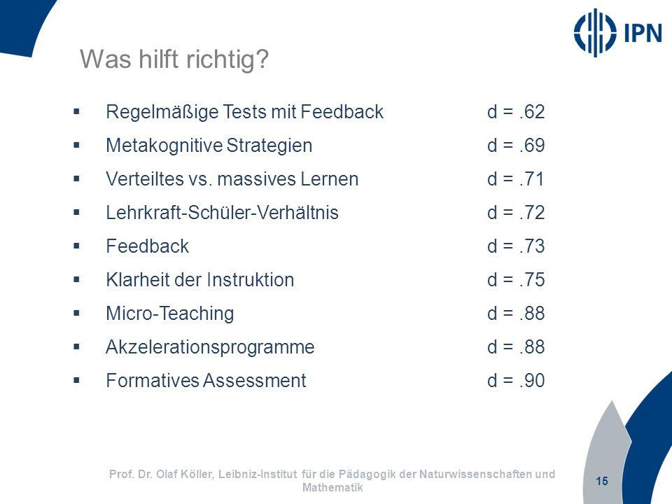 Was hilft richtig Regelmäßige Tests mit Feedback d = .62