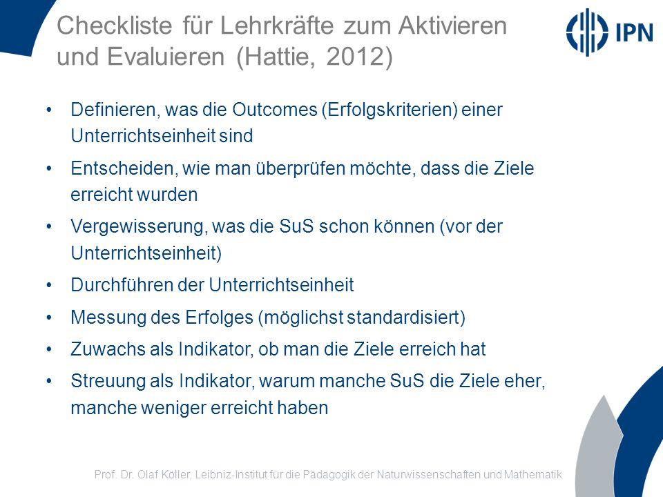 Checkliste für Lehrkräfte zum Aktivieren und Evaluieren (Hattie, 2012)
