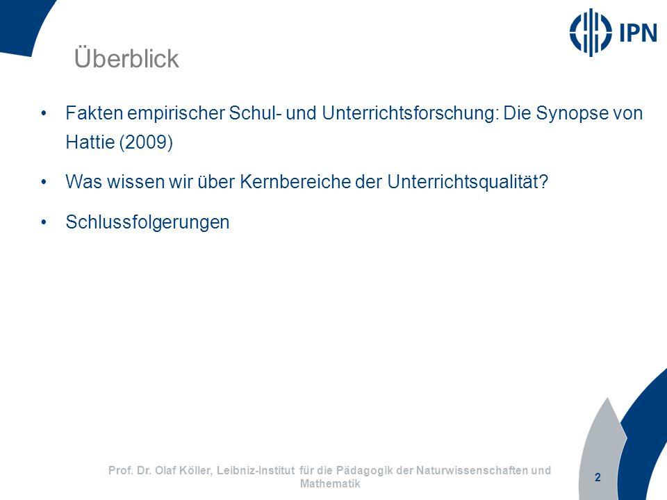 Überblick Fakten empirischer Schul- und Unterrichtsforschung: Die Synopse von Hattie (2009)