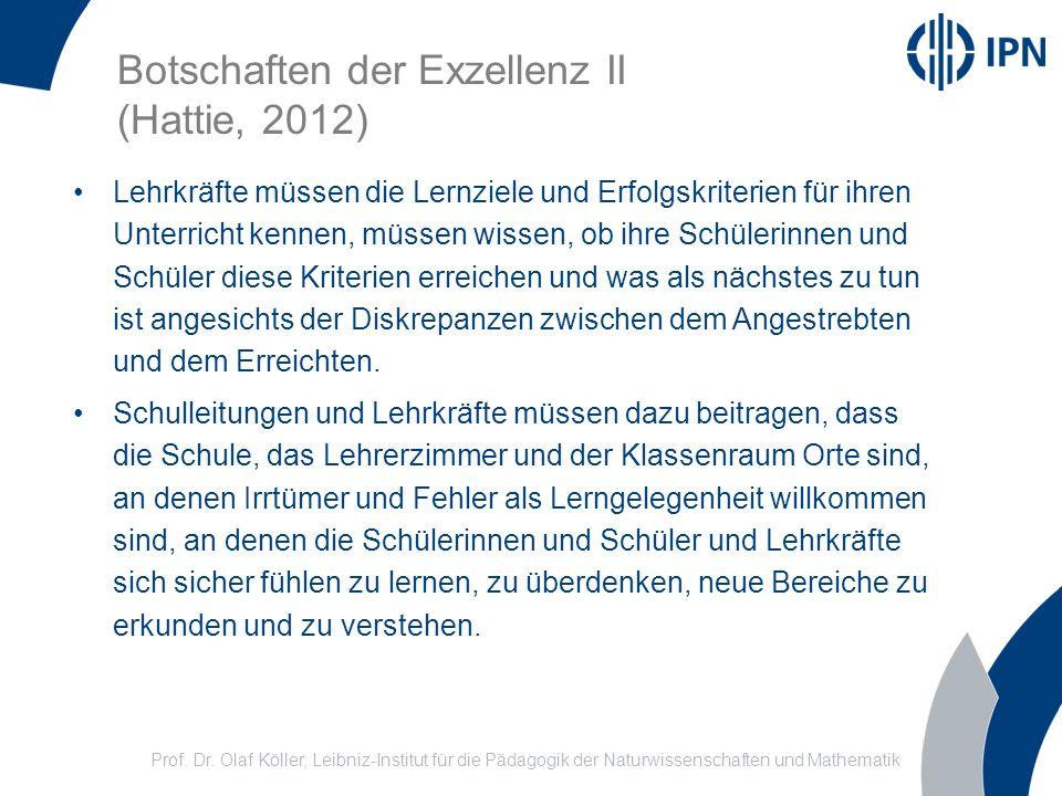 Botschaften der Exzellenz II (Hattie, 2012)