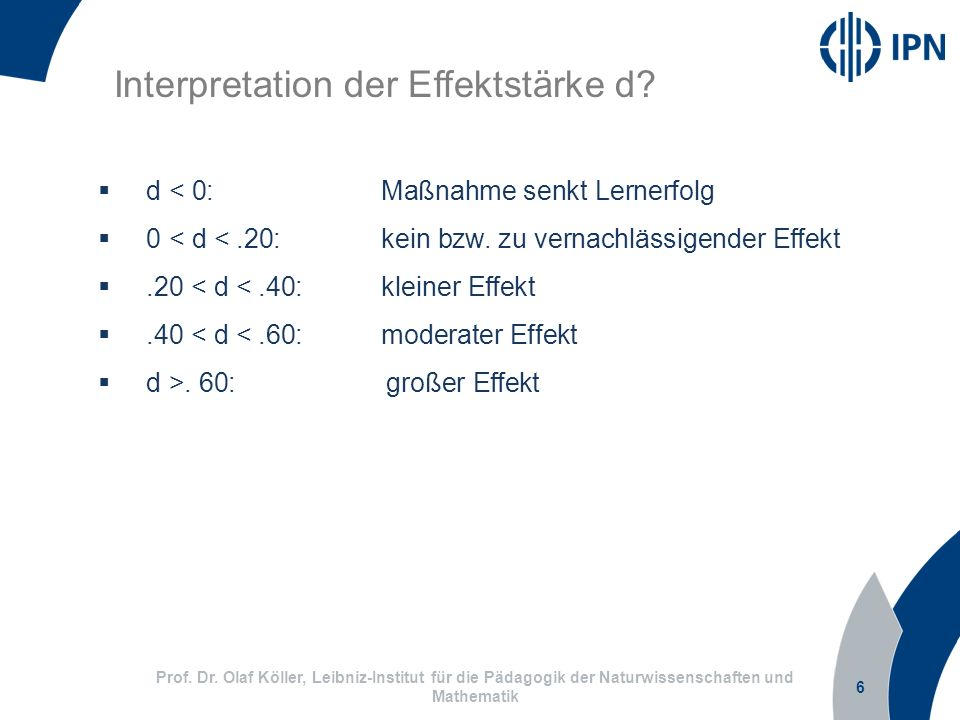 Interpretation der Effektstärke d