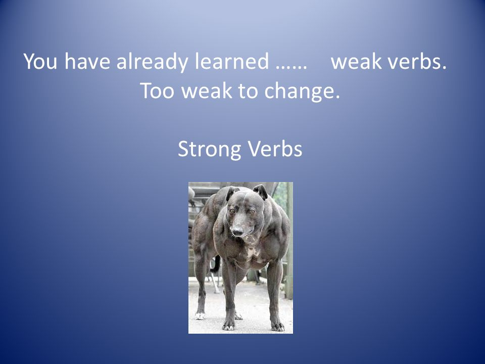 You have already learned …… weak verbs.