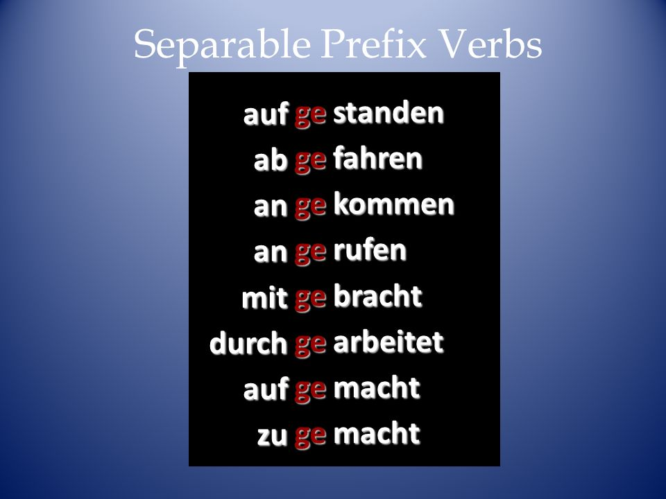 Separable Prefix Verbs
