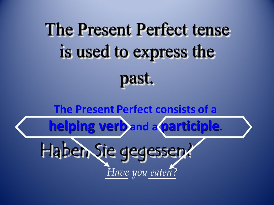 The Present Perfect consists of a helping verb and a participle.
