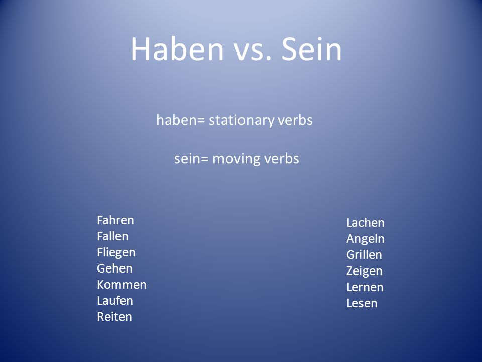Haben vs. Sein haben= stationary verbs sein= moving verbs Fahren