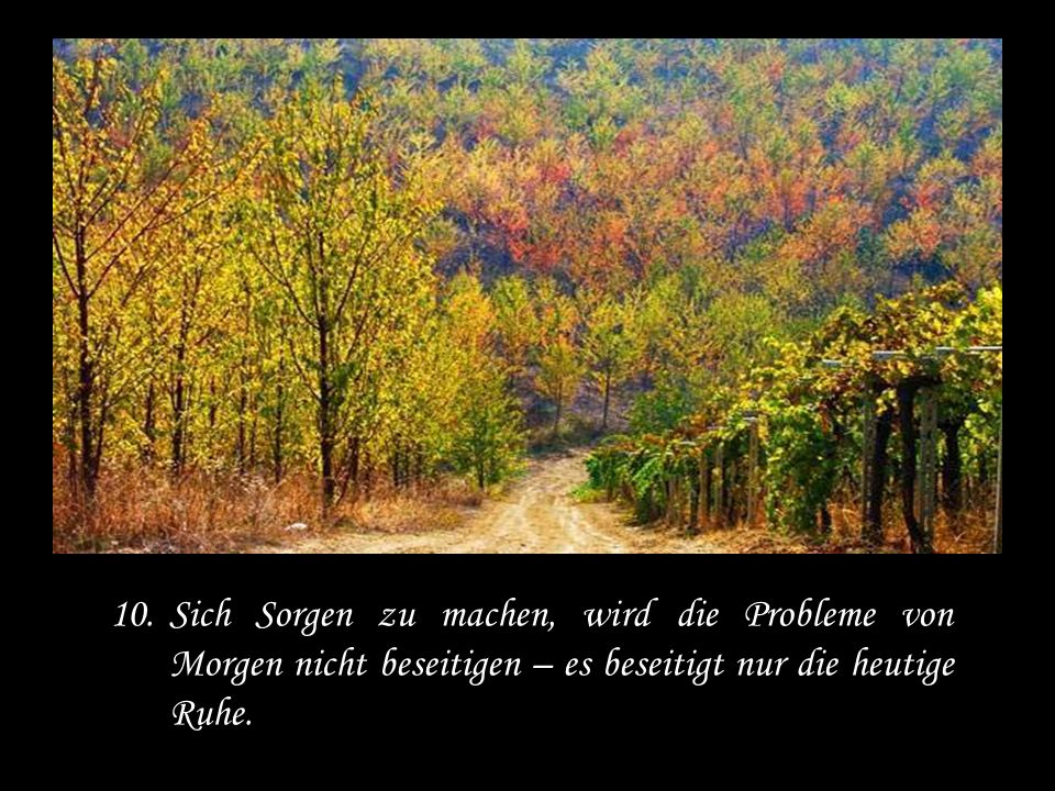 Sich Sorgen zu machen, wird die Probleme von Morgen nicht beseitigen – es beseitigt nur die heutige Ruhe.