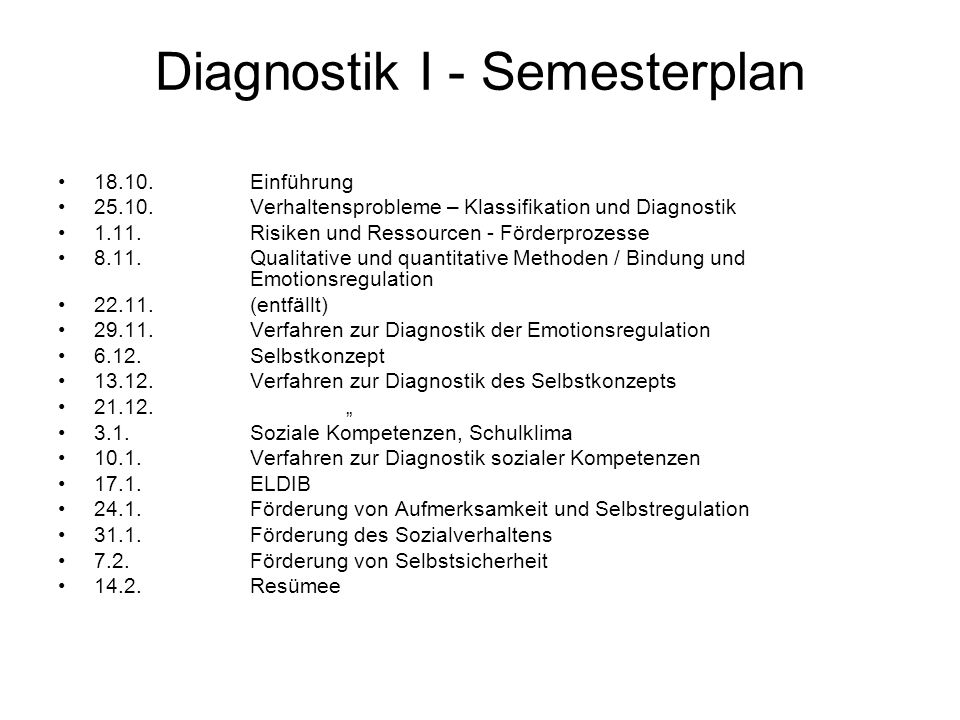 Diagnostik I - Semesterplan
