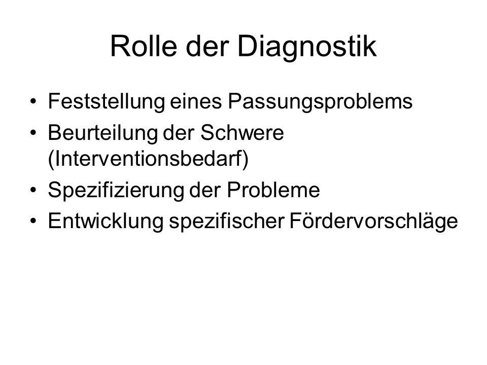 Rolle der Diagnostik Feststellung eines Passungsproblems