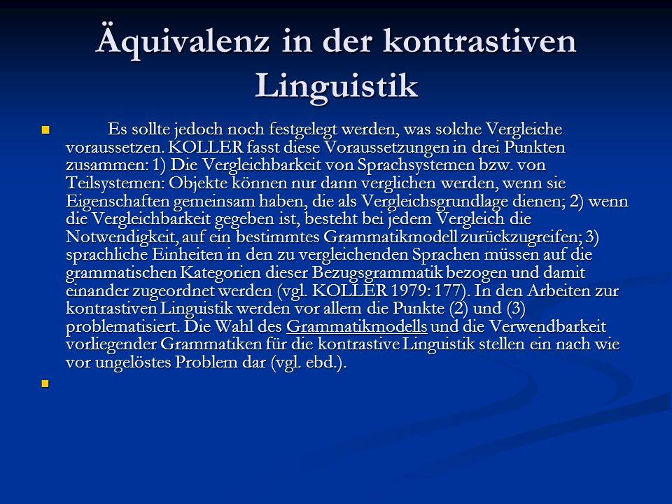 Äquivalenz in der kontrastiven Linguistik