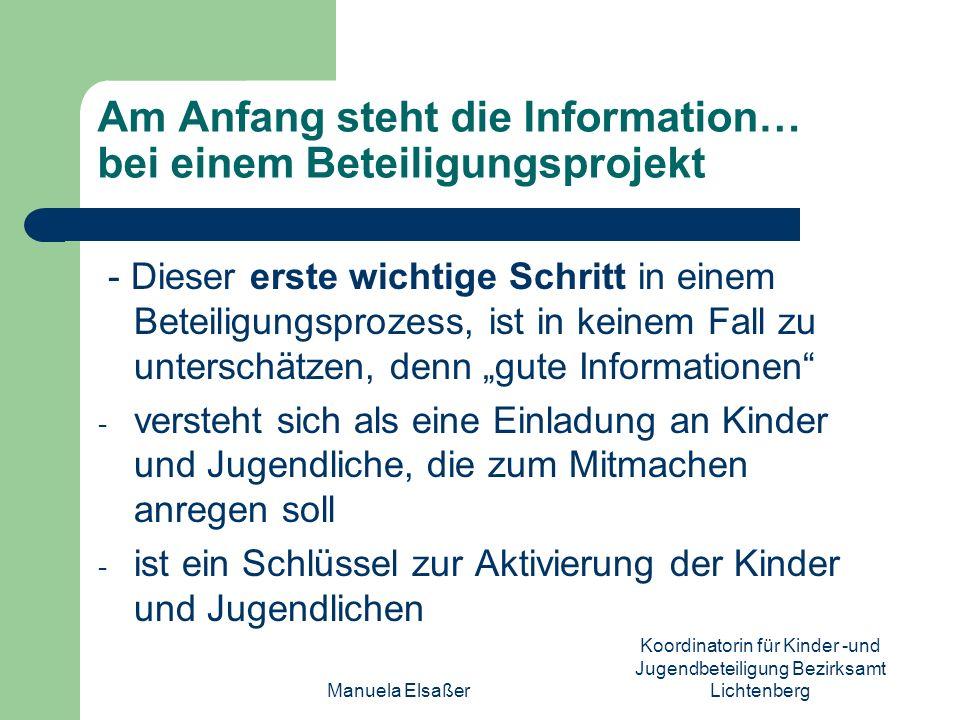 Am Anfang steht die Information… bei einem Beteiligungsprojekt