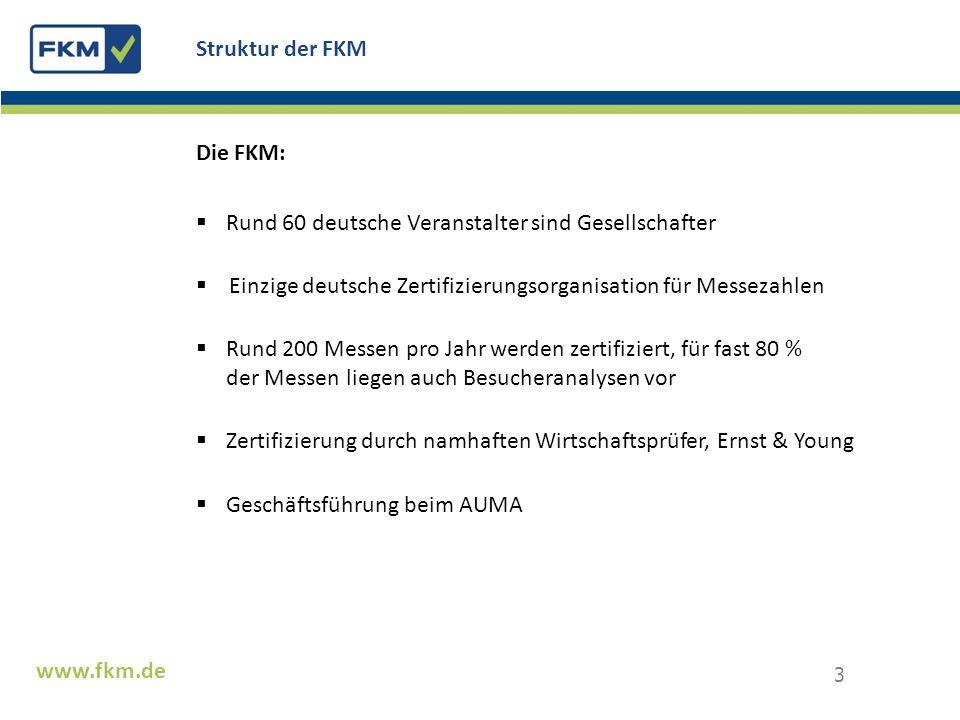 Struktur der FKM Die FKM: Rund 60 deutsche Veranstalter sind Gesellschafter. Einzige deutsche Zertifizierungsorganisation für Messezahlen.