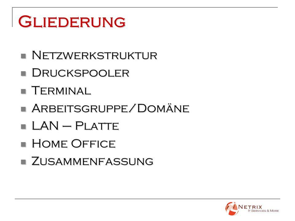 Gliederung Netzwerkstruktur Druckspooler Terminal Arbeitsgruppe/Domäne