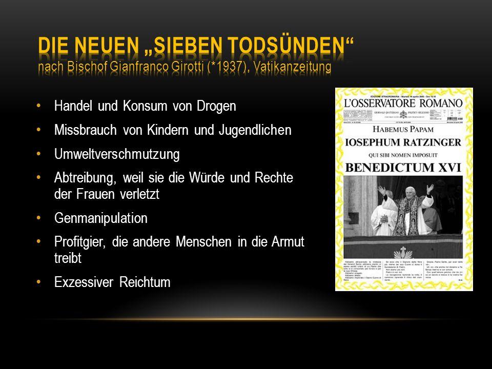 """Die Neuen """"Sieben Todsünden nach Bischof Gianfranco Girotti ("""