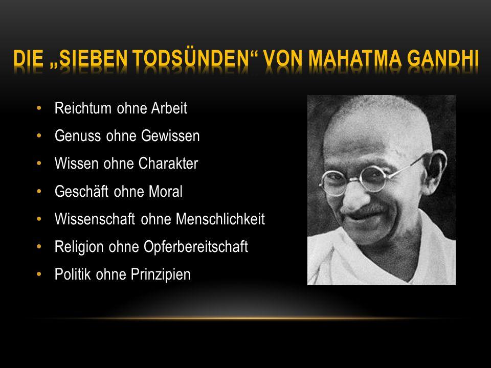"""Die """"Sieben Todsünden von Mahatma Gandhi"""