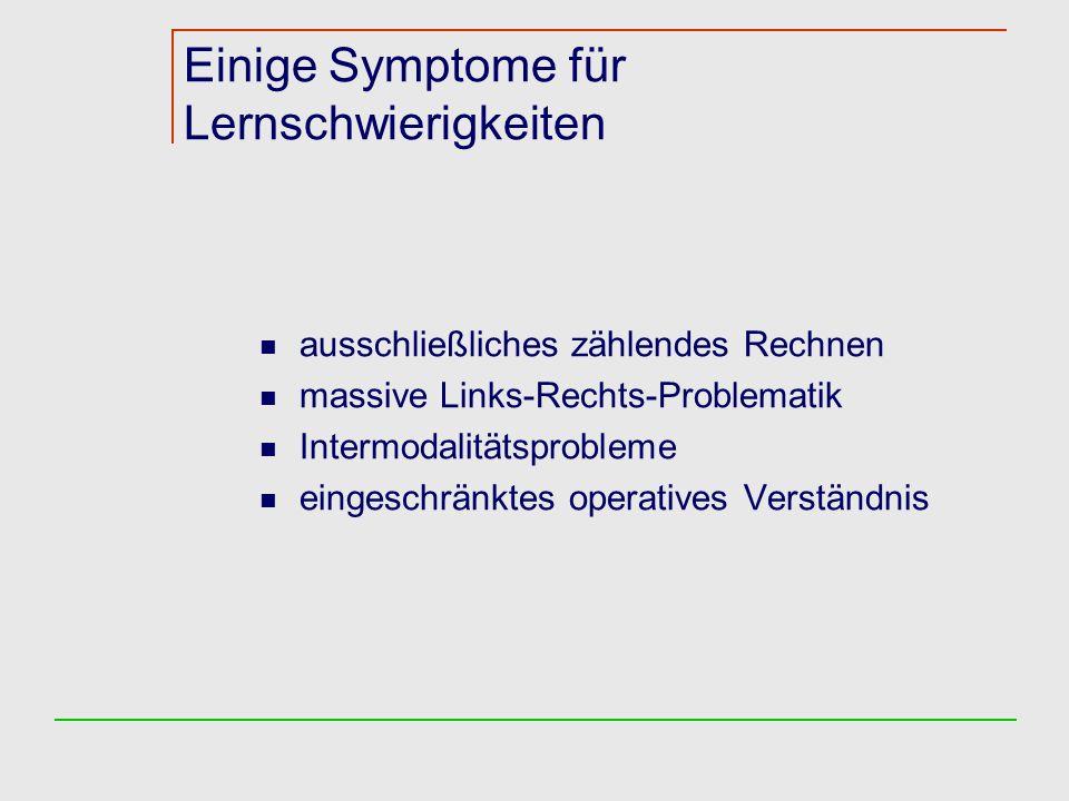 Einige Symptome für Lernschwierigkeiten