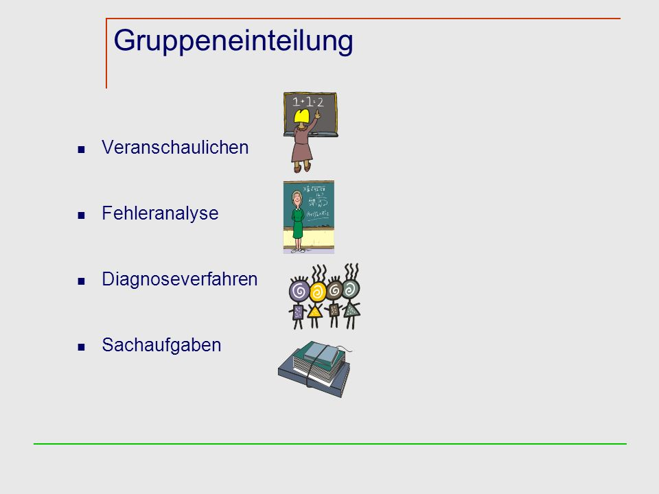 Gruppeneinteilung Veranschaulichen Fehleranalyse Diagnoseverfahren