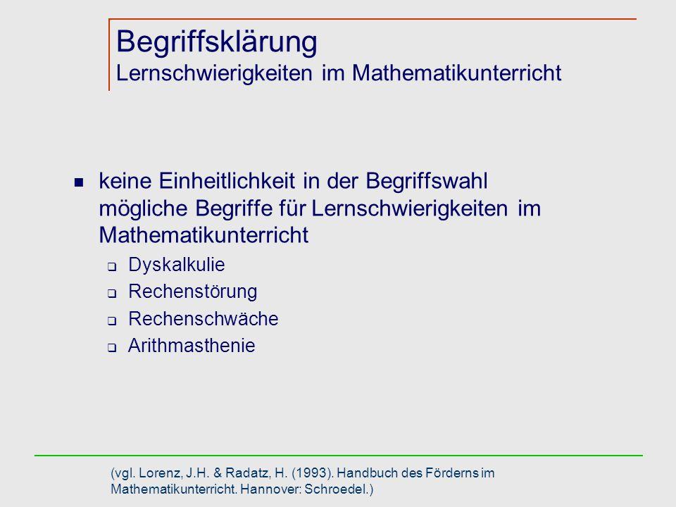 Begriffsklärung Lernschwierigkeiten im Mathematikunterricht