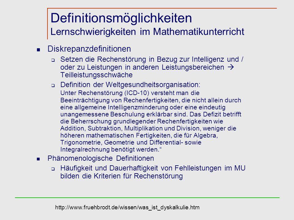 Definitionsmöglichkeiten Lernschwierigkeiten im Mathematikunterricht