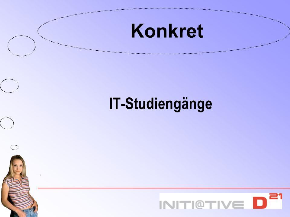 Konkret IT-Studiengänge 4.13 Ausbildungsberufe und Studiengänge: