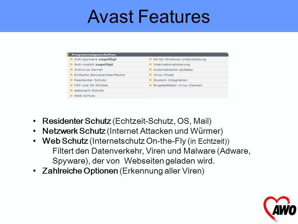 Avast Features Residenter Schutz (Echtzeit-Schutz, OS, Mail)