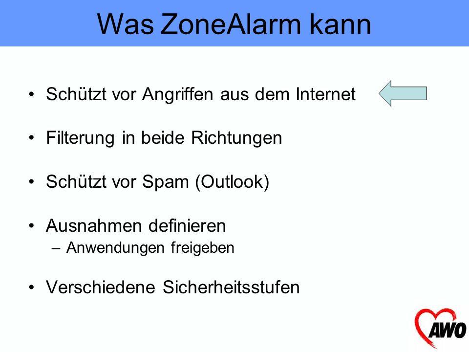 Was ZoneAlarm kann Schützt vor Angriffen aus dem Internet