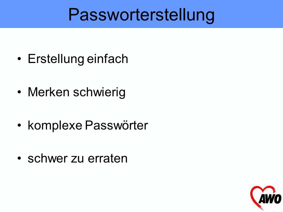 Passworterstellung Erstellung einfach Merken schwierig