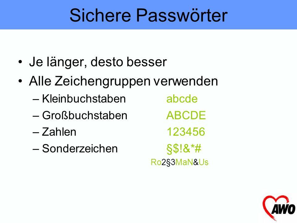 Sichere Passwörter Je länger, desto besser