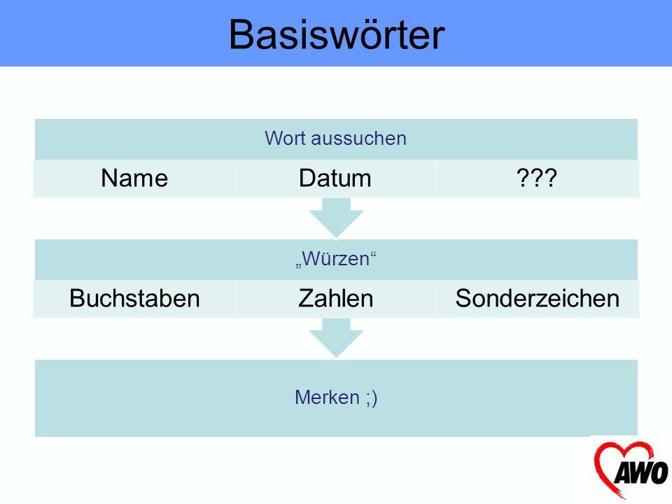 """Basiswörter Wort aussuchen Name Datum """"Würzen Buchstaben Zahlen"""