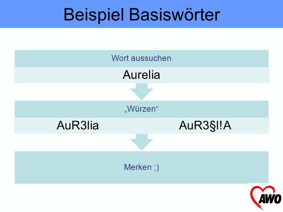 """Beispiel Basiswörter Wort aussuchen Aurelia """"Würzen AuR3lia AuR3§l!A"""