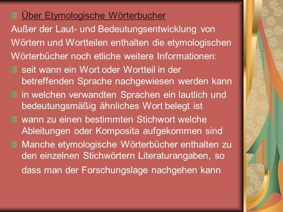 Über Etymologische Wörterbucher