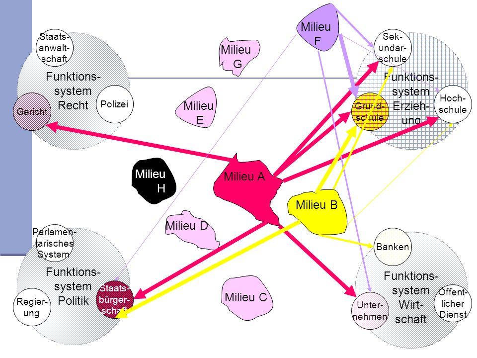 Milieu F Funktions- system Recht Funktions- system Erzieh- ung Milieu