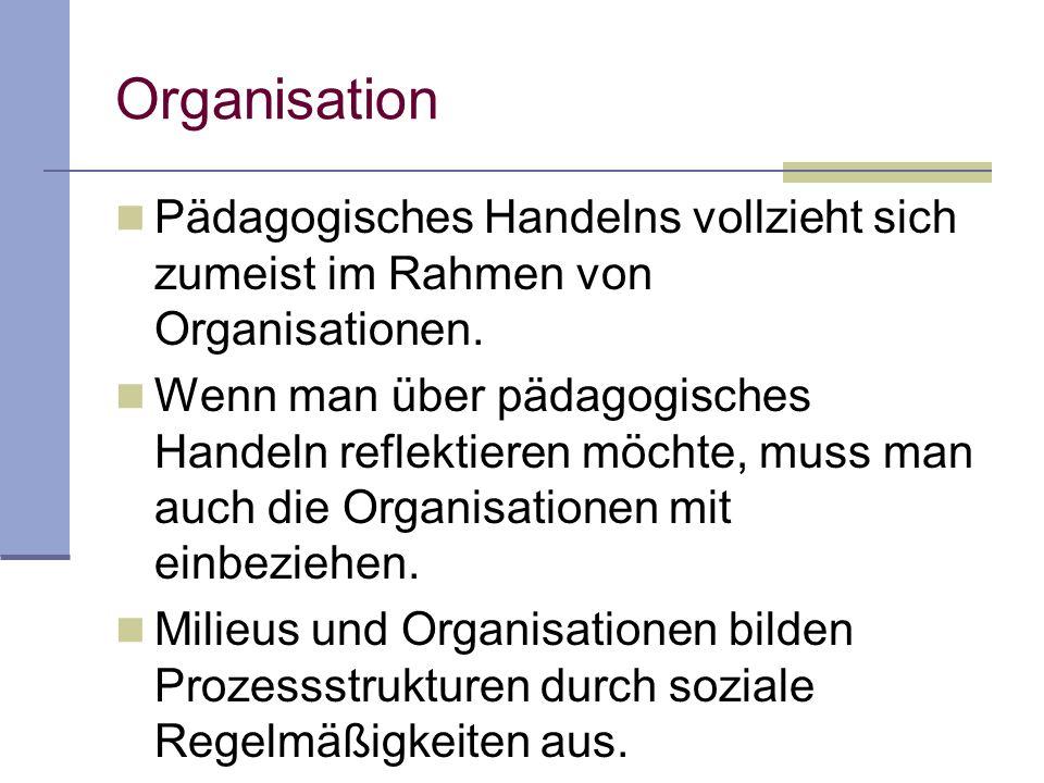 Organisation Pädagogisches Handelns vollzieht sich zumeist im Rahmen von Organisationen.