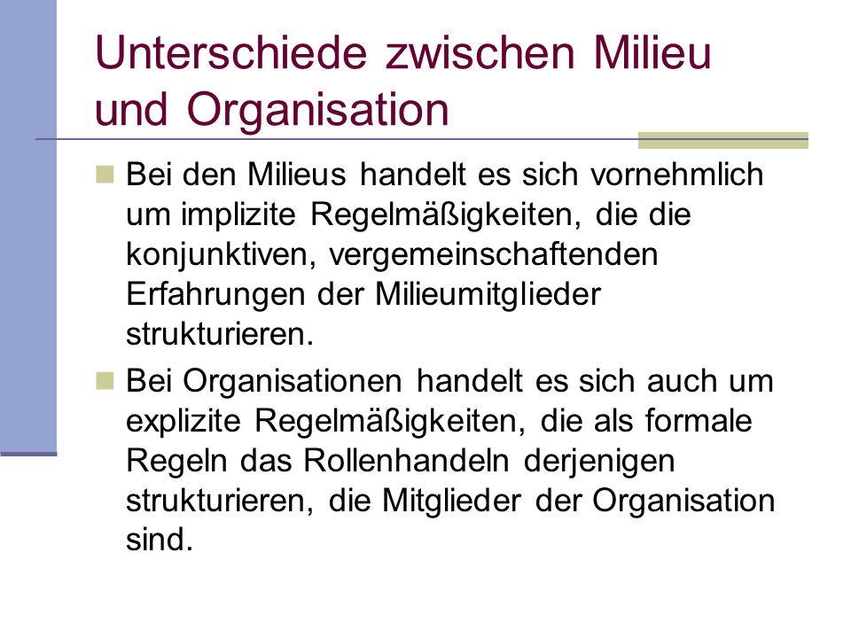 Unterschiede zwischen Milieu und Organisation