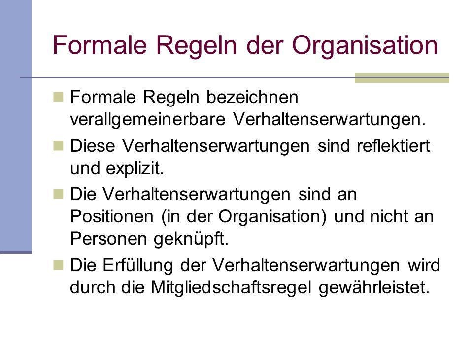 Formale Regeln der Organisation
