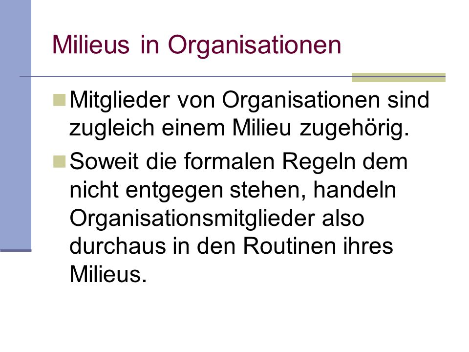 Milieus in Organisationen