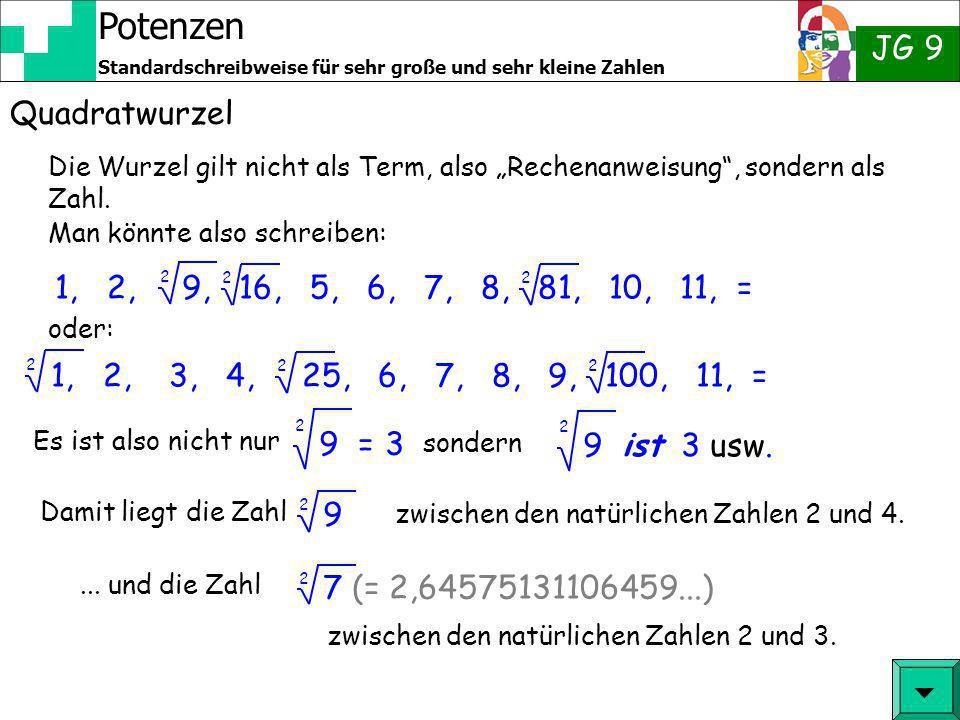 """Quadratwurzel Die Wurzel gilt nicht als Term, also """"Rechenanweisung , sondern als Zahl. Man könnte also schreiben:"""