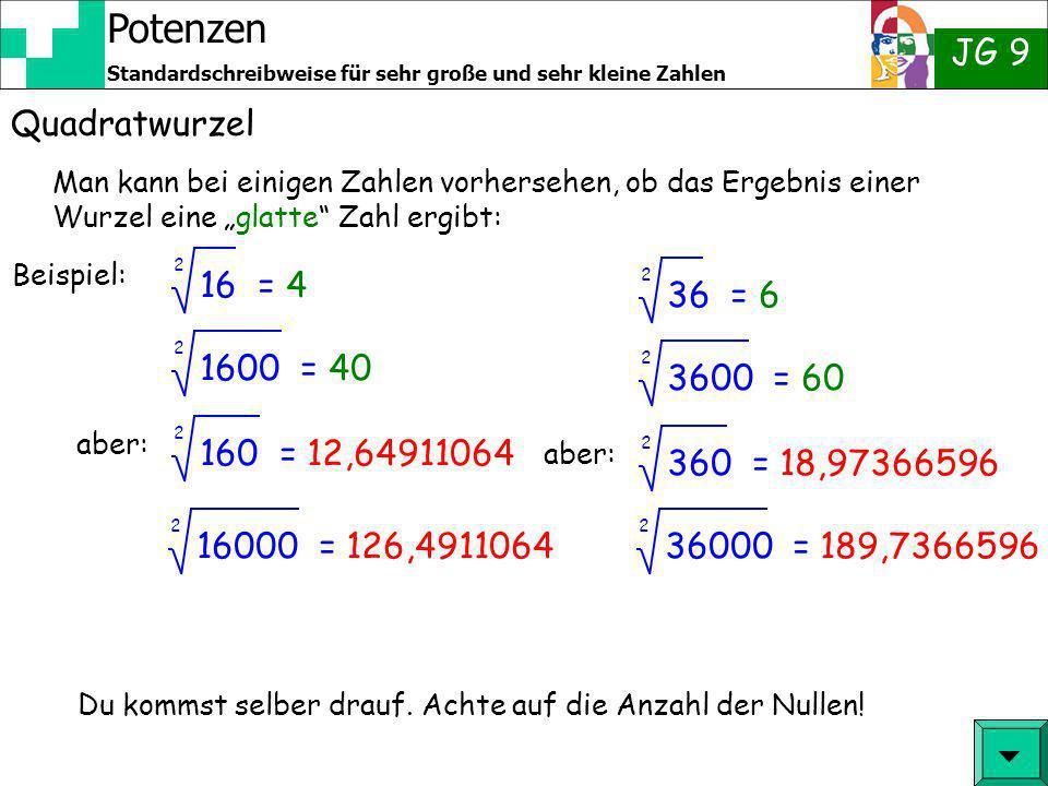 """Quadratwurzel Man kann bei einigen Zahlen vorhersehen, ob das Ergebnis einer Wurzel eine """"glatte Zahl ergibt:"""