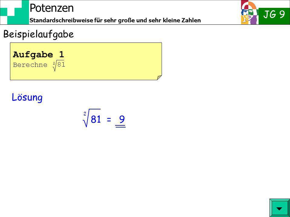 Beispielaufgabe Aufgabe 1 Berechne 81 2 Lösung 81 = 2 9  