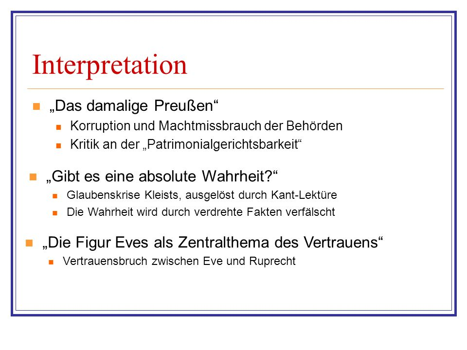 "Interpretation ""Das damalige Preußen"