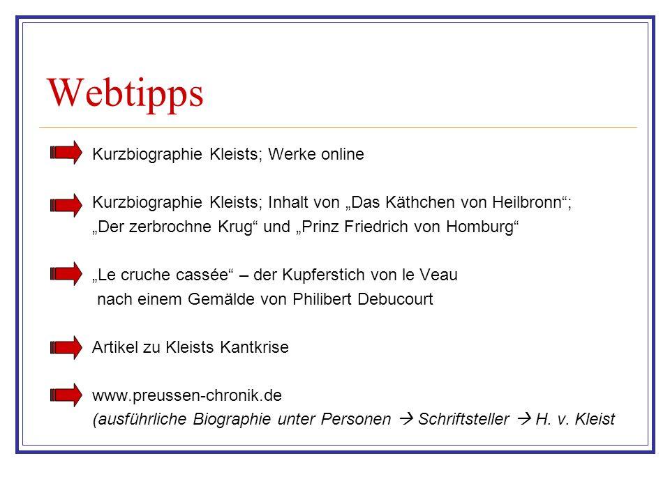 Webtipps Kurzbiographie Kleists; Werke online