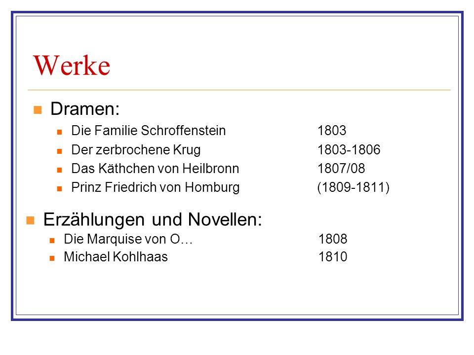 Werke Dramen: Erzählungen und Novellen: