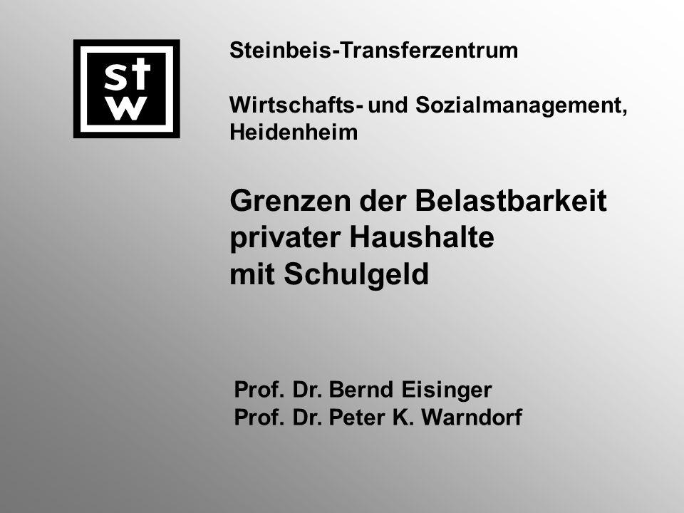 Steinbeis-Transferzentrum Wirtschafts- und Sozialmanagement, Heidenheim Grenzen der Belastbarkeit privater Haushalte mit Schulgeld