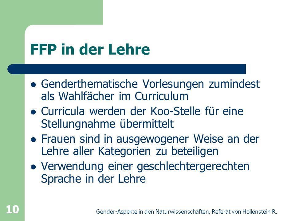 FFP in der Lehre Genderthematische Vorlesungen zumindest als Wahlfächer im Curriculum.