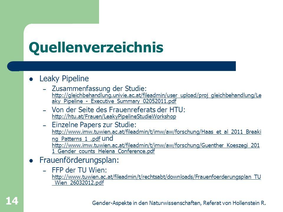 Quellenverzeichnis Leaky Pipeline Frauenförderungsplan:
