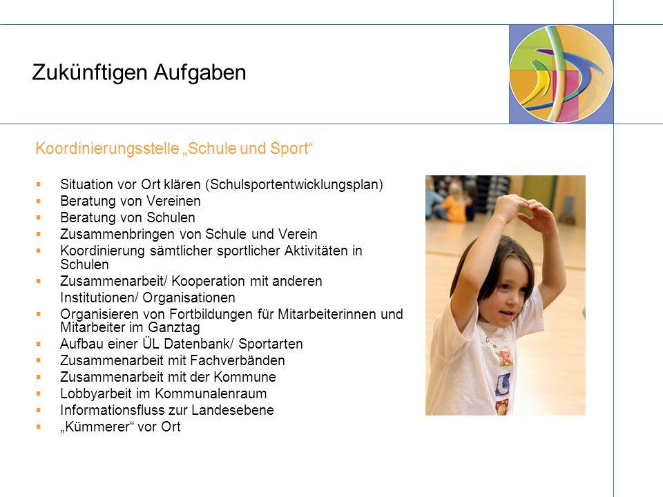 """Zukünftigen Aufgaben Koordinierungsstelle """"Schule und Sport"""